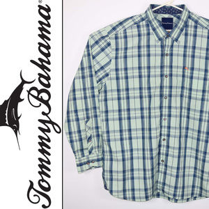 Tommy Bahma Mens Size XL Green Plaid Checks Blue